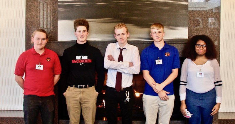Pictured Left to Right: Trevor Stover (Central Hardin), Luke Resser (McCracken County), Mason Bibb (Highlands High), Matt Lamb (Central Hardin), Jazlyne Barnes (Central Hardin).